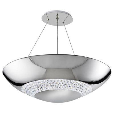 HALO 8 LIGHT LED PENDANT CHROME WITH CLEAR CRYSTAL GLASS DECOR