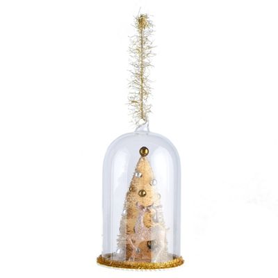 Glass Christmas Dome Decoration with Gold Reindeer