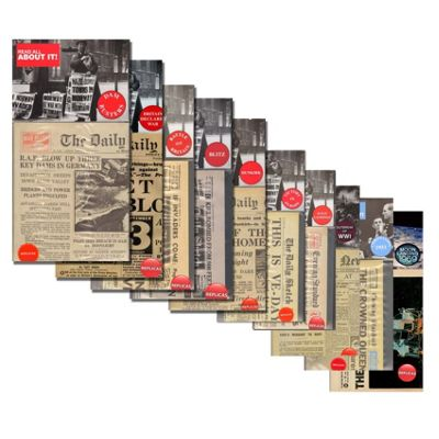 Complete Collection of 10 Replica Memorabilia Newspapers - World Wars & Historical Events