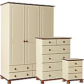 Nordic Cream and Pine Bedside, 2+4 Deep Drawer Chest, 3 Door 4 Drawer Wardrobe Package