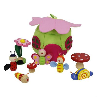 Plush Flower House with Wooden Spring Nature Toys Play Set