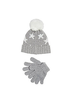 F&F Star Print Sparkle Bobble Hat and Gloves Set - Grey