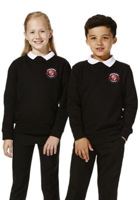 Unisex Embroidered School Sweatshirt with As New Technology 11-12 years Black