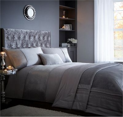 Luxe duvet cover and pillowcase set - grey - double