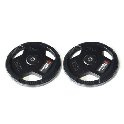 Body Power Rubber Enc Tri Grip Standard (1 Inch) Weight Disc Plates - 25Kg (x2)