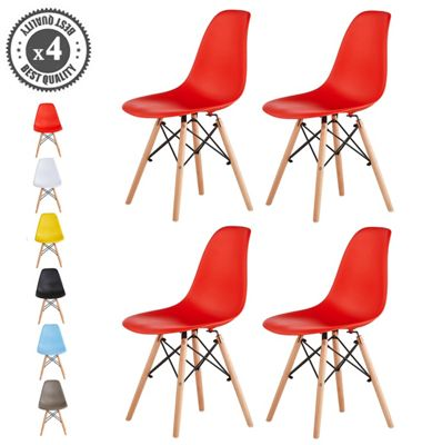 Set of 4 Modern Design Chair Eames Style Dining Chairs (Red) Lia