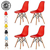 Set of 4 Modern Design Chair Eames Style Dining Chairs (Red)