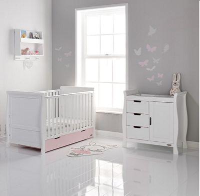 Obaby Stamford 2 Piece Cot Bed Nursery Room Set - White/Pink