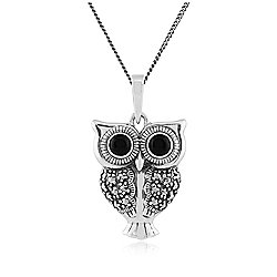 Gemondo Sterling Silver 0.30ct Black Onyx & Marcasite Owl Pendant