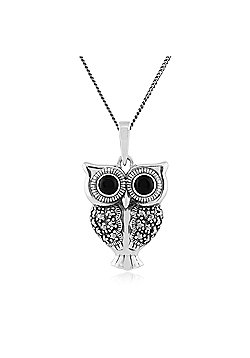 Gemondo Sterling Silver 0.30ct Black Onyx & Marcasite Owl Pendant