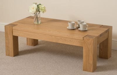 Kuba Chunky Solid Oak 120 cm Large Coffee Table