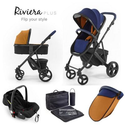 Riviera Plus 3 in 1 Black Travel System, Midnight Blue & Tan