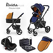 Riviera Plus 3 in 1 Black Travel System, Midnight Blue & Tan