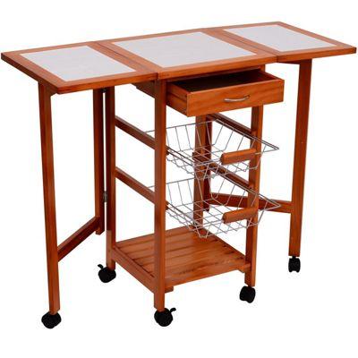 Homcom Kitchen Table Trolley Wooden Storage Shelves Freestanding w/ 6 Wheels & 2 Metal Baskets