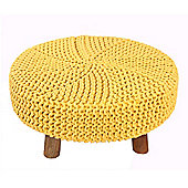 Homescapes Flat Cotton Yellow Footstool with Wooden Legs