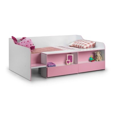 Happy Beds Stella Wood Kids Low Sleeper Cabin Storage Bed with Memory Foam Mattress - Pink and White - 3ft Single