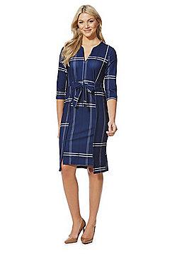 Stella Morgan Checked Tie Waist Dress - Navy
