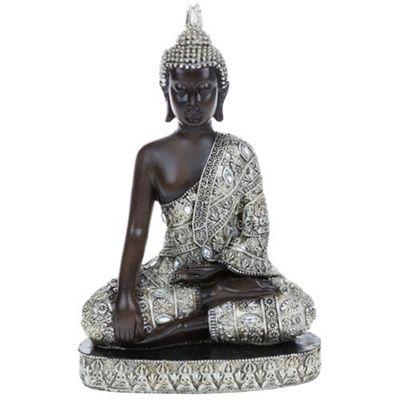 Buddha - Thai Meditating Buddha Decorative Ornament - Black / Silver