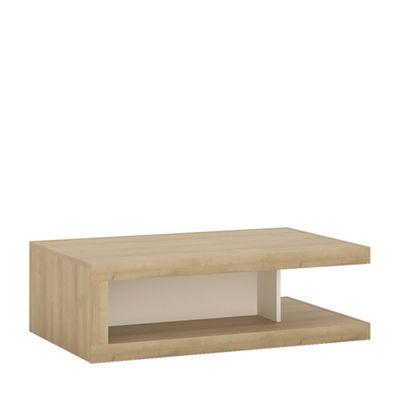 Lyon Designer coffee table on wheels in Riviera Oak/White high gloss