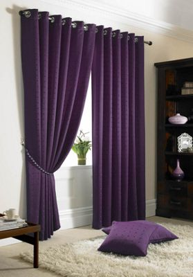Alan Symonds Madison Purple Eyelet Curtains - 66x54 Inches (168x137cm)