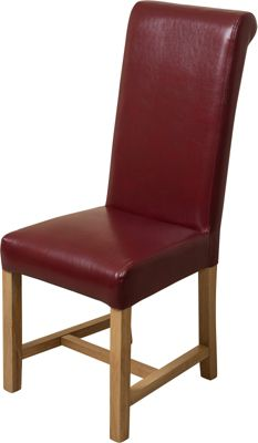 x12 Washington Braced Frame Red Leather Dining Chairs