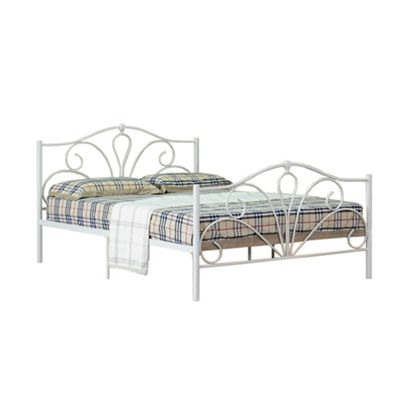 Comfy Living 4ft6 Double Scroll Detailed Metal Bed Frame in Ivory with Luxury Damask Mattress