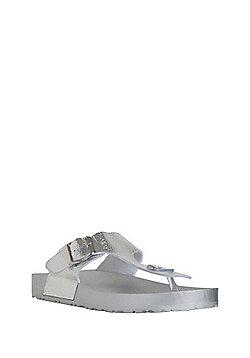 F&F Toe Post Sandals - Silver