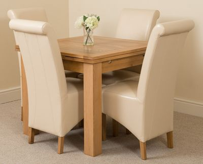 Richmond Solid Oak Extending 90 - 150 cm Dining Table with 4 Ivory Montana Leather Dining Chairs
