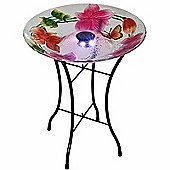 Outdoor 18-Inch Flower Fusion Glass Solar Bird Bath w/ Stand