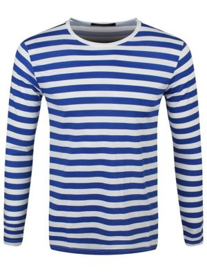 Striped Royal Blue and White Long Sleeved Men's T-shirt