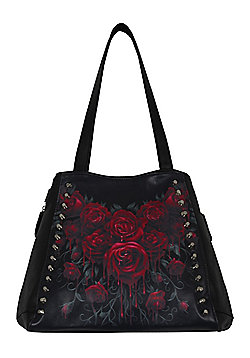 Spiral Blood Rose PU Leather Studded Tote Bag 33x37x14cm