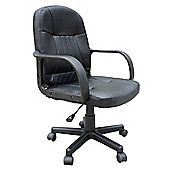Homcom Swivel Executive Office PU Leather Computer Desk Furniture- Black