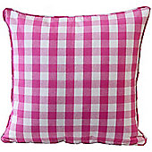 Homescapes Cotton Block Check Pink Scatter Cushion, 60 x 60 cm
