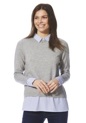 F&F Striped Collar 2 in 1 Jumper Grey 22