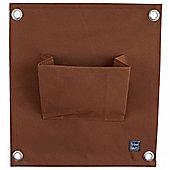 Brown Wall-mountable Fabric Pocket Wall Planter