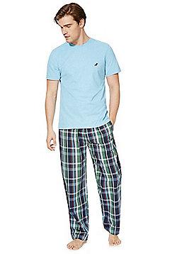 F&F Checked Bottoms Loungewear Set - Blue