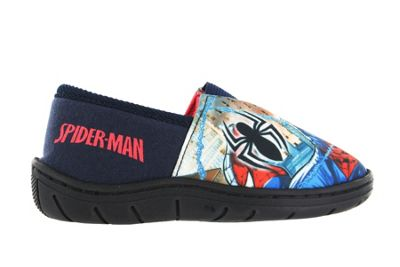 Boys Spiderman Action Print Red & Blue Elasticated Slippers Kids Child Size 8