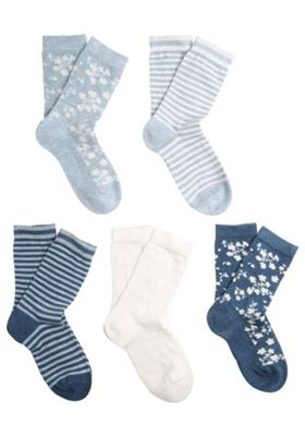 F&F 5 Pair Pack of Denim Floral Ankle Socks Multi Child Shoe 3-5 1/2