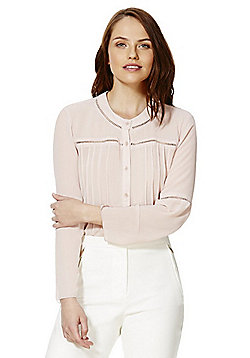 Only Ladder Insert Pleated Blouse - Peach