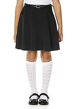 F&F School Girls Flared Soft Touch Premium Skirt with Belt - Black