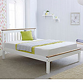 Happy Beds Derby Wooden Low Foot End Bed with Memory Foam Mattress - White