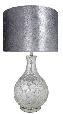 Silver Mercury Patterned Round Lamp With Grey Velvet Shade