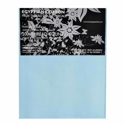 Homescapes Blue Egyptian Cotton Flat Sheet 200 TC, Single