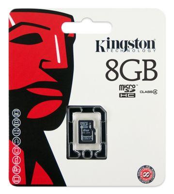 Kingston microSDHC 8GB Class 4 Card