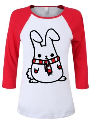 Mimo Loves Winter Women's Red & White Raglan T-Shirt