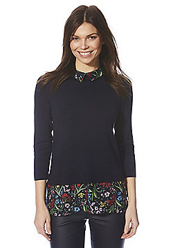 F&F Wildflower Print Collar 2 in 1 Jumper - Navy
