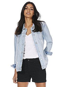 F&F Oversized Distressed Denim Jacket - Light wash