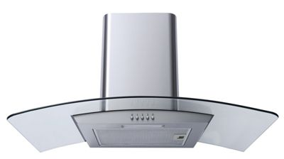SIA CPL81SS 80cm Curved Glass Stainless Steel LED Cooker Hood + 1m Ducting Kit
