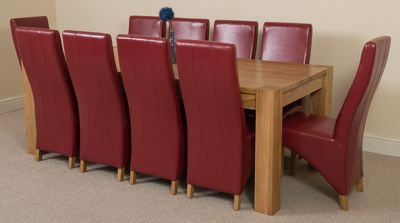 Kuba Chunky Solid Oak 220 cm with 10 Red Lola Leather Chairs