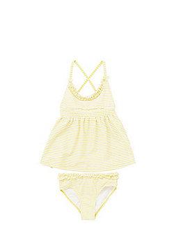 Minoti Striped Cross-Back Tankini Set - Yellow